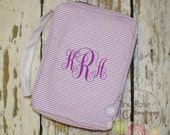 Personalized Purple Seersucker Bible Carrying Case - Your Choice of Monogram or Name