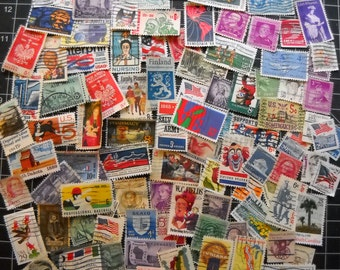 100 US Used Vintage Postage Stamps for crafting collage altered art journals scrapbooks philately commemorative stamps stamp collecting 16a