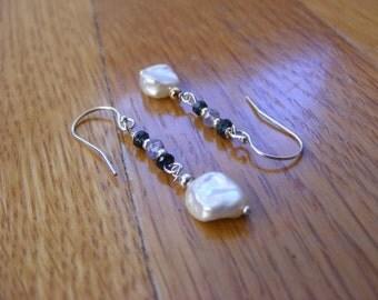 Blue Sapphire, Tanzanite and Keishi Pearl Earrings