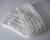 Handmade Crochet White with Sparkly Silver Thread Infinity Continuous Circular Circle Loop Scarf Soft Warm Neck Wrap for Women and Teens