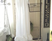 White Ruffled Shower Curtain with Rows of Tattered Ruffles | Shower Curtains | Farmhouse Decor | Farmhouse | Cottage Decor