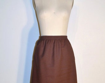 SUMMER HEAT SALE Vintage 1970s Skirt - 70s Pencil Skirt - Brown and White Striped