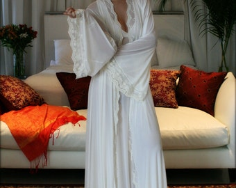 Bridal Robe Wedding Lingerie Blush Embroidered Lace Sleepwear Angel Sleeve Dressing Gown Wedding Trousseau