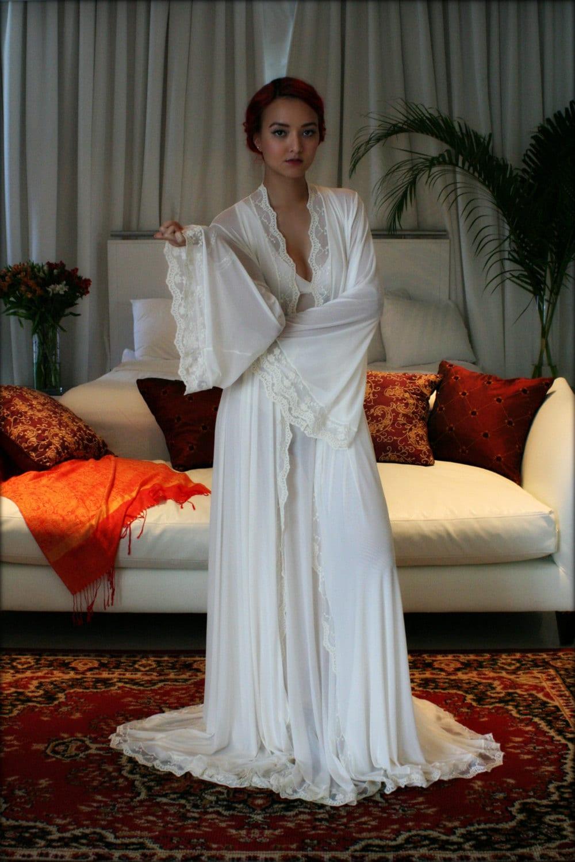 bridal robe wedding lingerie blush embroidered lace sleepwear