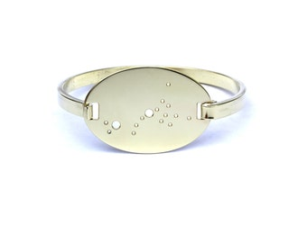Scorpio High Polished Raw Brass Zodiac Constellation Oval Bracelet