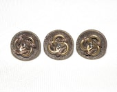 3 Matching Small Brass Buttons with Triad Design and Cut Steel Centers