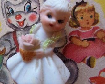tiny cute little girl porcelain figurine