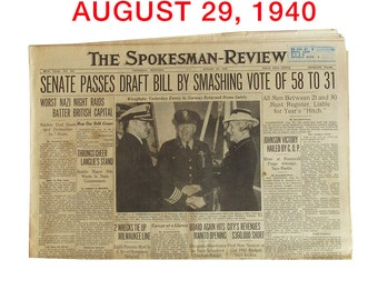 "August, 1940 Newspaper - Spokane, WA Spokesman-Review ""World War Two News"""