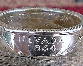 2006 Nevada State Quarter Coin Ring (90% Silver) (Available in sizes 4 through 9)