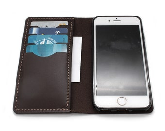 Hand Stitched iPhone Leather Wallet in Oil Pull Up CHESTNUT (Free Personalization)