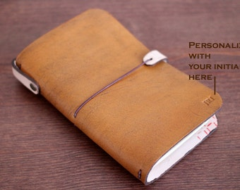 LEATHER COVER for Midori - Field notes - Moleskine cahiers in Hand Dyed Antique TAN