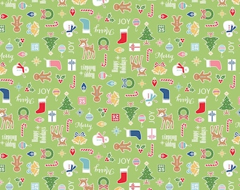 Cozy Christmas Fabric Lori Holt Fabric Riley Blake Green Christmas Quilting Fabric By The 1/2 Yard