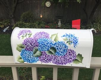 Hand painted mailbox, hydrangea mailbox, custom mailbox, flower mailbox, artist mailbox, custom painted mailbox,blue mailbox, purple mailbox