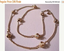 SALE Twisted Ribbed Knot Necklace Gold Tone Vintage Avon 1977 Delicate Knot Curb Link Chain