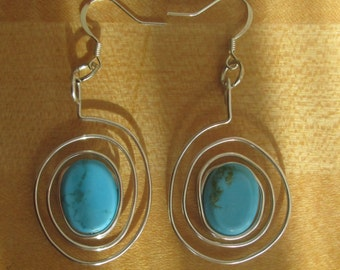Silver Wire and Turquoise Spiral Earrings