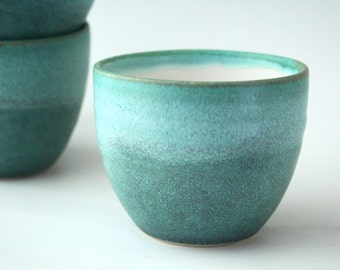 Teal green blue large cup