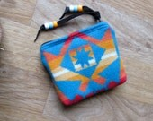 Medicine Bag, Totem Pouch, Coin Zippered Change Purse Condensed Turquoise 4.5 x 3.5