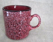 Vintage Coffee Mug / Faux Granite Ware Mug / Burgundy Mug with Black & White Spatter Ware Look