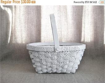 Happy 4th with 40% Off White Lace Flower Girl Basket / Shabby White Basket for Wedding or Reception / Program Basket / Favor Basket