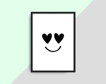 Smiley Emoji Face PRINTABLE Poster, Kids Instant Download Poster, Kids Wall Art Poster,  Kids Decor, Printable Art, DIY Prints, Teen room