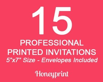 15 Printed Invitations with Envelopes, Printing Services, Press Printing, US Shipping Included