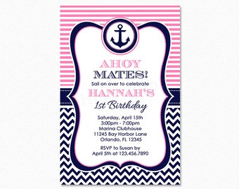 Nautical Birthday Party Invitation, Girl Nautical Party, Pink, White, Blue, Chevron, Personalized, Printable and Printed