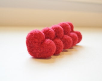 Rustic Red Wool Needle Felted Heart Pebbles Valentine's Day Love 100% Natural Wool Rustic Favors