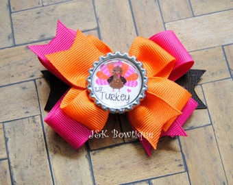 Lil' Turkey.....Double Layer hair bow...Pink, orange and brown