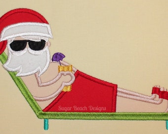 Suntan Santa - Machine Applique Embroidery Design - 3 Sizes (114)