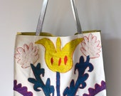 New for Spring: white leather and antique suzani market tote with silver metallic leather straps