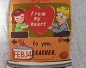 Vintage 60s Valentines Day unused Teacher Card w/ Envelope / School Bus