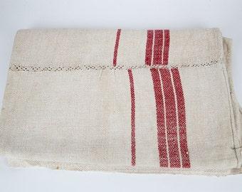 Vintage Hemp Burlap Throw . Red Stripe Upholstery Fabric. Good Condition