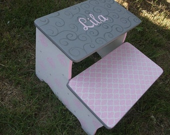 Pink and Grey, Step Stool, Damask Pink, Nursery decor, Bathroom Stool, Personalized Free