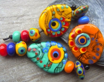 Between the Clouds - Handmade Lampwork Bead Set (13) by Anne Schelling, SRA