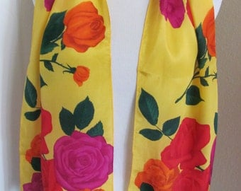 "Liz Claiborne // Colorful Yellow Floral Silk Skinny Scarf // 10 x 50"" Long // Best of the Best"