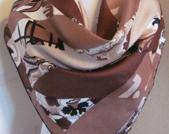 "Vintage Richard Allan // Beautiful Brown Silk Scarf // 28"" Inch 66 cm Square // Best of the Best"