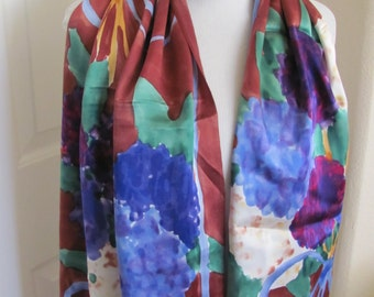 "Scarf WOW! Beautiful Brown Floral Hand Painted So Soft Silk Scarf - 16"" x 72"" Long - Best of the Best"
