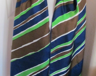 "ECHO Beautiful Vintage Blue Green Silk Scarf // 15"" x 62"" Long"