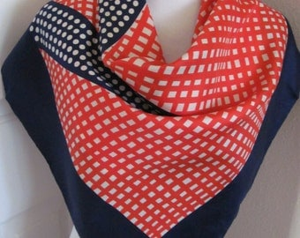 """ECHO // Blue Red White Vintage Silk Scarf  // 31"""" Inch 78cm Square // Best of the Best"""