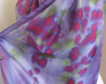 Ladies Purple Colorful Tie Dye Soft Silk Scarf // 16 x 60 Long
