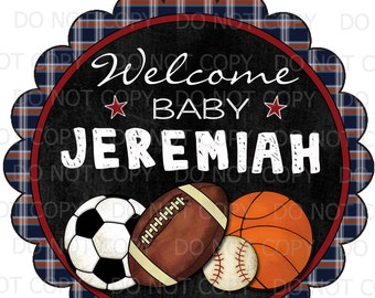 """Printable DIY Personalized Sports Chalkboard Baby Boy Shower Centerpiece or Cake Topper - 8"""" and 6"""" sizes"""