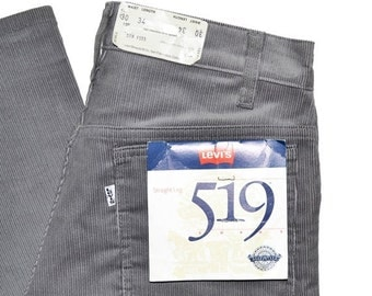 ON SALE Vintage 1986 Unisex LEVI'S Straight Leg 519 Grey Cords Jeans Size 30x34 Made In Usa Corduroy