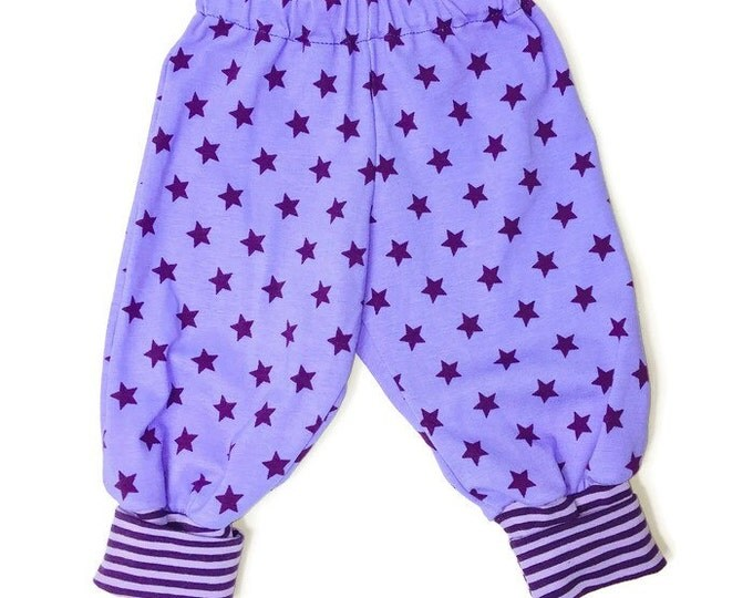 Purple with purple stars, girls leggings, girls pants, leggings, girls outfit, baby clothing. Size NB - 24 months