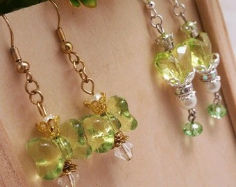 Set of 3 silver/gold plated earring styles (studs/dangles) in yellow/green shades collection
