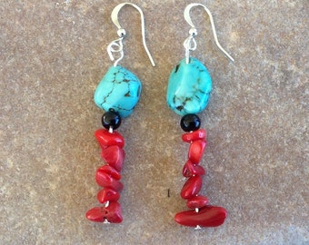 Turquoise Black and Corral Beaded Earrings with Silver French Hooks