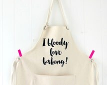 funny apron - Bloody love baking Apron - cake lover -  cooks apron kelly connor designs