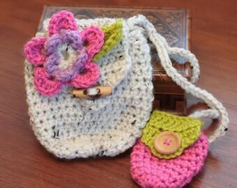 Crochet Bag Pattern, Little Girl Flower Purse (50)