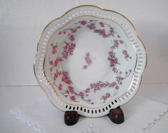Vintage Bavarian Fruit Bowl Schumann Bridal Rose Reticulated Fine China 1940's