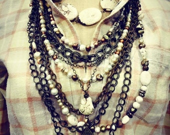 Multi strand statement SET Jo'ellie boutique original necklace chunky white vintage chic gypsy junk messy artist necklace one of a kind boho