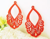 WP27 / # 4 Red / Wood Lace Pairs for Earring / Laser Cut Lace Wooden Charm /Pendant /Filigree Wood Charm/Eardrop/Dangle